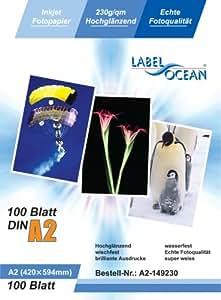 LabelOcean Premium Fotopapier 100 Blatt A2 230g/qm Highglossy hochglänzend wasserfest