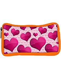 Snoogg Eco Friendly Canvas Shining Heart Designer Student Pen Pencil Case Coin Purse Pouch Cosmetic Makeup Bag
