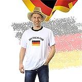 Tshirt Shirt Trikot Deutschland T-Shirt weiss weiß Fußballtrikot Fussballtrikot Fussballshirt Fanartikel Rundhals für S-XL Kinder Männer und Frauen Erwachsene zur Fussball Weltmeisterschaft wm 2018 Russland (XL)