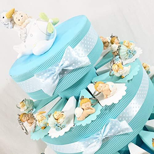 Torta bomboniera Nascita Battesimo Bimbo Cicogna Portachiavi e Carrozzina (Torta 3 Piani 35 fette) *