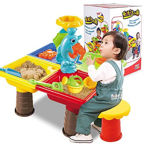 ZMH Kinder Sand und Wasser Tisch, Kleinkind Kinder Strand Spielzeug Set mit kleinen Hocker Outdoor Beach Garden Spielen Geschenk für Alter 3 4 5 6 7 8 9 Jungen Mädchen (Outdoor-wasser-spiel-tisch)