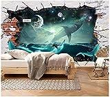 Apoart 3D Papier Peint Requin-baleine de mer ciel étoilé 3D peinture peinture murale200cmx140cm