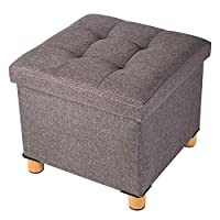 BRIAN & DANY Folding Ottoman Storage Box with Wood Legs, Linen Foot Stool, pouffe footstool with Highly Elastic Sponge Filling, Brown, 38 x 38 x 36 cm