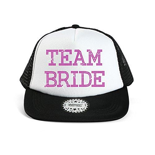 Baseballkappe mit Schriftzug 'Team Bride', Strass, für Brautparty/ Hochzeit schwarz / rosa