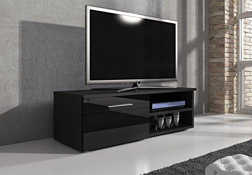 TV Mobile TV Porta Mobili Supporto Vegas corpo nero opaco/Fronti Nero Lucido, 120 cm