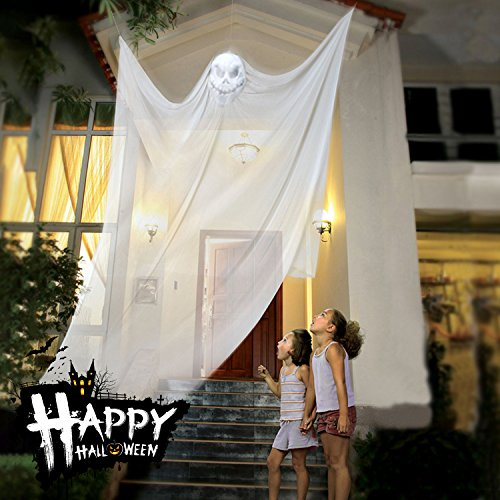 Halloween Dekoration Hanging Ghost Decor Prop Hexe Vorhang für Outdoor Party Dekorationen Hallowmas Creepy Tuch - Weiß (Hexe Prop)