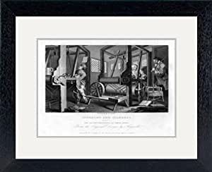 Print of ''The fellow 'prentices at their looms', plate I of 'Industry and Idleness', 1833.Artist: E Smith' in Black Frame