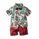 LEXUPE Kleinkind Baby Boy Kurzarm Fliege Gentleman Leaf T-Shirt Tops + Shorts Outfits(Grün,100)