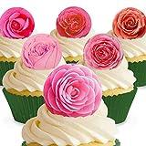 Cakeshop 12 x Vorgeschnittene und Essbare Rosa Rosen Blumen Kuchen Topper (Tortenaufleger, Bedruckte Oblaten, Oblatenaufleger)