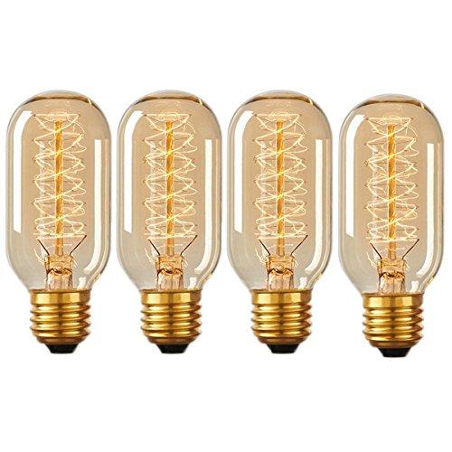 4Pack Lampe Glühlampe Birne, kingcoo E2740W T45-Glühfaden Edison Glühbirne Wolfram, dimmbar, klassisches Vintage Antik 220V dekorativen Elementen Sein Und Ihrs Ringe Wolfram