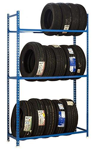 Reifenregal A - Click mit 3 Ablagefächen in Blau - Maße: 200 x 90 x 40 cm (H x B x T)