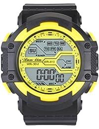 YAZILIND unisexe Sports Watch multifonction Led lumière numérique étanche montre-bracelet (jaune)