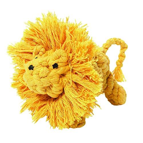 Larry der Löwe 10,2cm (10cm) klein Seil Hundespielzeug Größe: SM Farbe: Gelb (Larry Der Löwe)