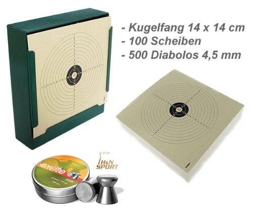 Kugelfang Flach 14x14 + 100 Zielscheiben + 500 Diabolos von 4komma5®