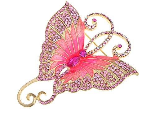 (Alilang GoldFarbton Rosa Strass Big Schmetterling Asymmetrische Schwanz Flügel Brosche)