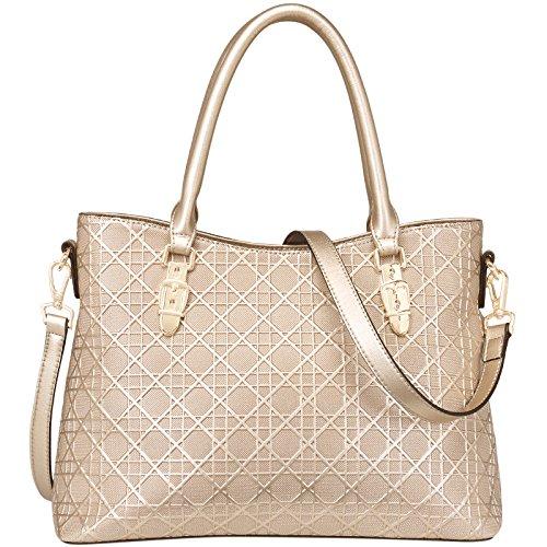 New Fashion Taschen Damen Ledertaschen Schultertasche Geprägte Handtaschen,Gold-OneSize - Gelbe Hobo Handtasche