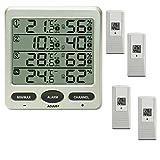 Funk Thermometer FT0073 mit 4 Aussensensoren Luftfeuchte LCD Display Min/max