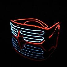 Lerway Marco Negro 2 Colores LED Luz de Neón Alambre Novedad Shutter Gafas + Control de Voz,para Concierto en Vivo, Año Nuevo Loco, Navidad (Blanco+Rojo)