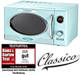 Melissa 16330122 Rétro Classico micro-ondes/900 Micro 1000 W 25 l/Design micro-ondes avec fonction grill/Peppermint