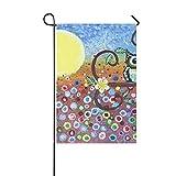 Home Dekorative Outdoor Doppelseitige Abstrakte Eule im Wald Ölgemälde Halloween Mond Garten Flagge, Haus Hof, Dekoration, saisonale Willkommensflagge Outdoor Flagge, 30,5 x 45,7 cm Frühling Sommer Geschenk