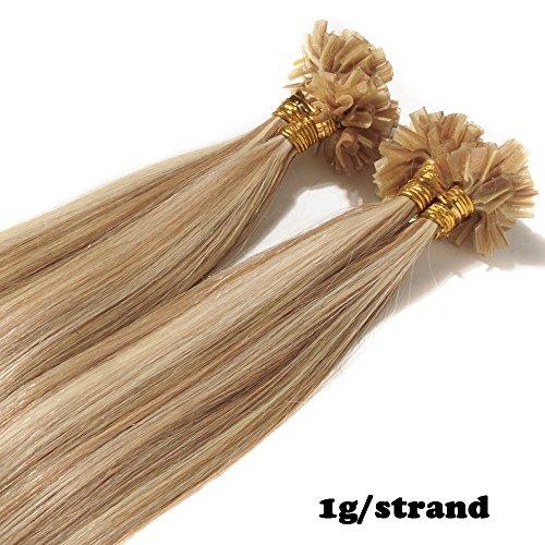 Extensions Echthaar Bondings 1g 100% Remy Echthaar Haarverlängerung Keratin Bonding 50 Strähnen 45cm (#12/613 hellbraun/hell-Lichtblond)