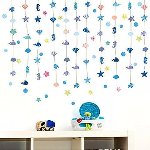 Xzpy129 Wandmalereien Aufkleber Und Bäder,Glasfliesen Maritimen Stil Vorhänge Vorhänge Shell Tier Drapiert,60 * 45 Cm Bubble