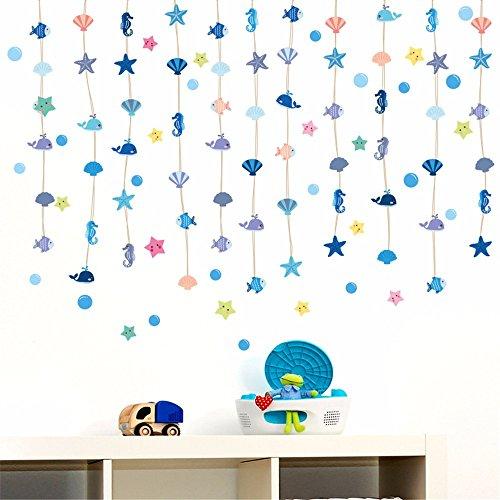 Bomeautify adesivi e murali da parete murale adesivi di carta bagno bagno piastrelle di vetro decorazione ocean style hanging tenda beaded shell animal bubbles, 60 * 45cm