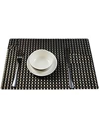 TININNA juego de 4 pcs,trenzado PVC Mantel individual / Salvamanteles para comedor(Negro