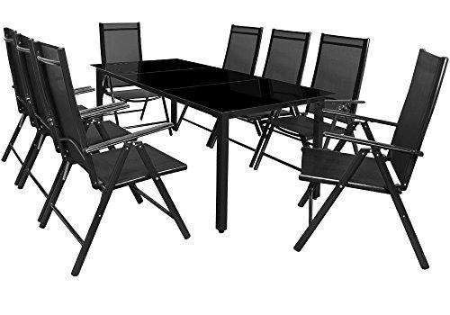 Deuba Sitzgruppe Bern 8+1 | Aluminium | 7-Fach verstellbare Hochlehner |  Tisch mit Sicherheitsglas | Anthrazit - Garten Set