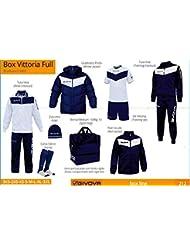 Givova Sports, Caja Vittoria Full. Juego de equipo deportivo de 8piezas., azul marino / blanco