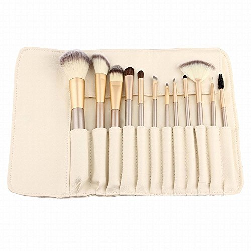 STONCEL Set di 12 di pennelli professionali da trucco Kabuki, con manico in legno e setole sintetiche ideali per applicare fard, correttore, fondotinta e ombretti liquidi, cremosi e in polvere, set di pennelli adatti per mescolare diversi prodotti, (con custodia di colore bianco panna)