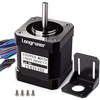 Longruner Stepper Motor Nema 17 Bipolar 48mm 84oz.in(59Ncm) 2A 4 Lead with 1m Cable and Connector for 3D Printer Hobby CNC + 1 Mounting Bracket + 4Pcs 36mm M3 Screws LQD04