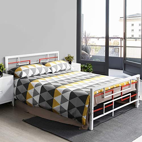 Aingoo Lit Double en Métal, Matelas de Plate-Forme remplacez Le sommier avec la tête de lit et Les pédales, (140 X 190CM), Blanc