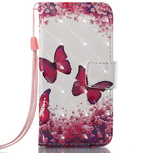 iPhone SE Fall, iPhone 5S Fall, iPhone 5 Fall, voanice PU Leder Wallet Case Card Holder Slot Flip Folio Ständer Cover Damen Mädchen Full Schutz Apple iPhone SE/5S/5 & Stylus-hot Pink Butterfly (Luxus Iphone 5 Fall)