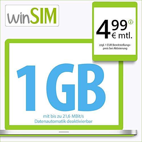 winSIM LTE Internet S Datentarif - 24 Monate Laufzeit (1 GB LTE mit max. 21,6 MBit/s mit deaktivierbarer Datenautomatik, 19 Cent pro Minute und SMS, 4,99 Euro/Monat)