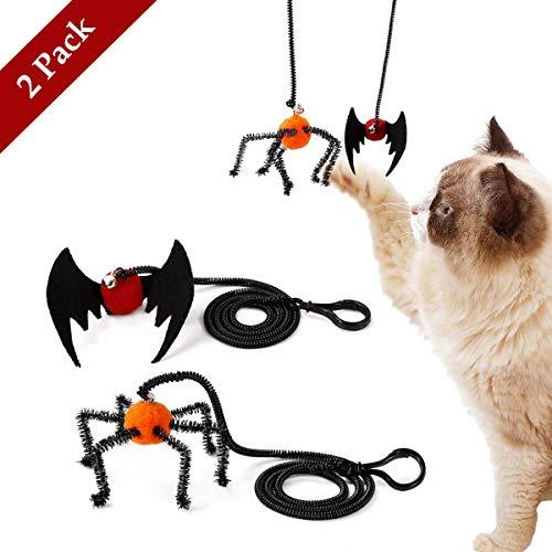 ASOCEA Interaktives Springseil Spielzeug für Katzen, Fledermaus, Spinnen-Design, Fliegende Finger, Spielzeug für Halloween, Kätzchen, Spielzeug mit Glocke, für Das Training lustig, 2 Stück