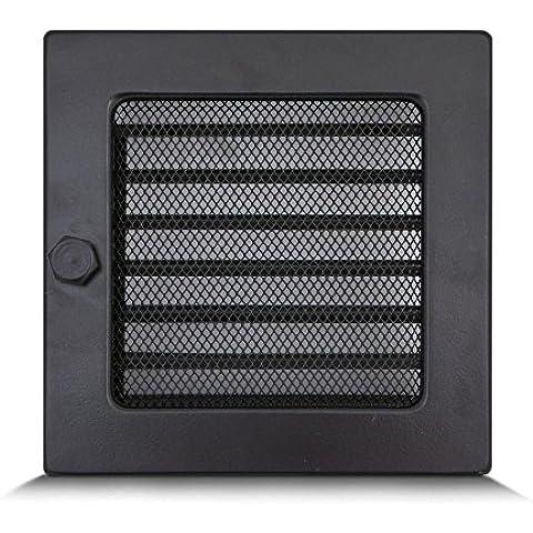 17 x 17cm Rejilla de lamas Aire rejilla ventilación Chimenea regulable - ACERO PULIDO - NEGRO