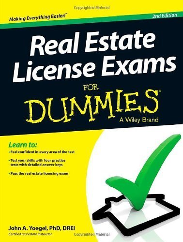 Real Estate License Exams For Dummies 2nd by Yoegel, John A. (2013) Paperback