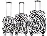 Polycarbonat Hartschale Koffer 2060 Trolley Reisekoffer Reisekofferset Beutycase 3er oder 4er Set in 12 Motiven (Zebra)