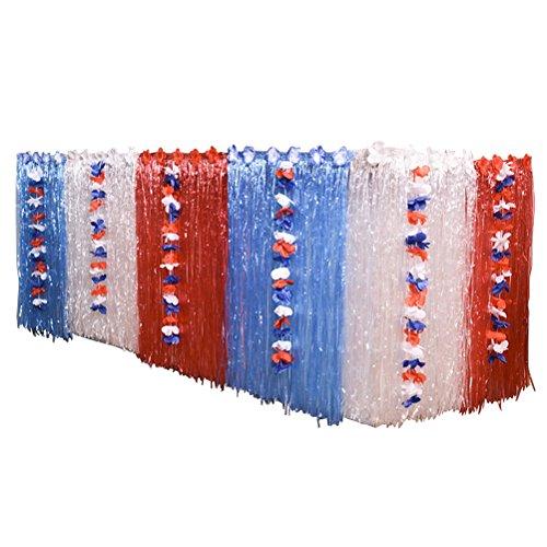 ke mit Blumen Hawaiian Luau Party Tischdecke DIY Dekoration Kunststoff Tischrock 276x75cm (Rot und Blau und Weiß) ()