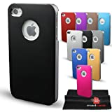 Stylish Metal Aluminium Back Case Cover Bumper for iPhone 4S / 4 and Screen Protector with Microfiber Cloth (Black)