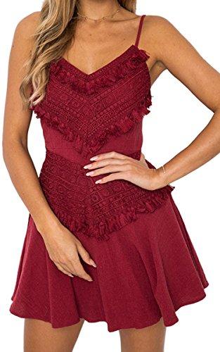 ECOWISH Damen Kleid V-Ausschnitt Spitzenkleid Spaghetti-Bügel Bowknot Rückenfrei A-Linie Minikleid Weinrot - Sommer-spaghetti-bügel-kleid