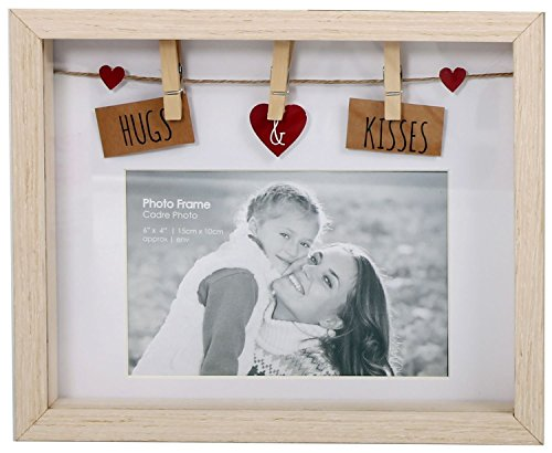 Wäscheleine-Fotorahmen aus Holz mit Klammern für 6x4Foto, holz, Hug and Kisses -