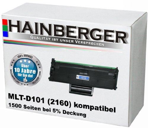 3400 Laserdrucker (Hainberger Toner, schwarz 1500 Seiten bei 5% Deckung, kompatibel für Samsung MLT-D101S/ELS für Samsung ML2160, ML2165, ML2165W, ML2168, SCX3405W, SCX3405FW, SCX3405F, SCX3405, SCX3400F, SCX300, SF760P)