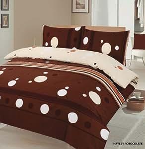 2PC Hayley Chocolat son Lit simple Parure de lit Housse de couette de lit avec taie d'oreiller