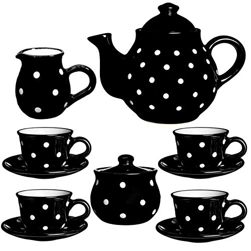 Juego de tetera de cerámica con diseño de lunares blancos y negros de City to Cottage hecho a mano, tamaño grande, 137 l/60 oz/4 – 6 tazas de tetera, jarra de leche, azucarero, cuatro tazas y platillos, set de té de cerámica, regalo para los amantes del té.