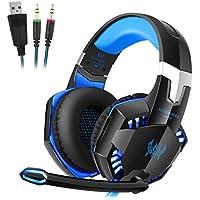 Auriculares Gaming PC, Micrófono incorporado con micrófono estéreo Bass luz LED, ideal para PC Computadoras Gaming Player Xbox PS4 Laptop Game, color azul