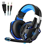 PC Gaming Kopfhörer/ Headset mit Mikrofon und Positive Vibrationsfunktion, Over-ear Headset mit Kabel und Doppelstecker, USB, LED Licht für PC, Laptop, Tablet, Smartphone, PS4, Xbox One
