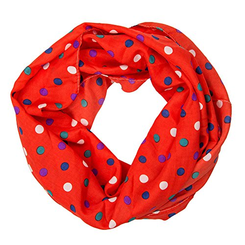 MANUMAR Loop-Schal für Damen | Hals-Tuch in rot mit Punkte Motiv als perfektes Herbst Winter Accessoire | Schlauchschal | Damen-Schal | Rundschal | Geschenkidee für Frauen und Mädchen