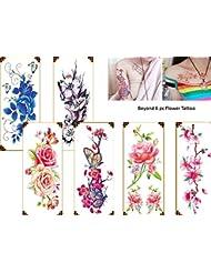 6feuilles roses fleurs Tattoo Flash Tatouage Faux tatouage